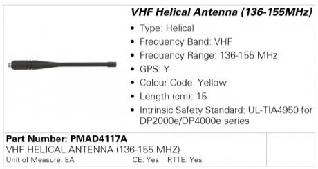 Антенна Motorola PMAD4117A (136-155MHz)